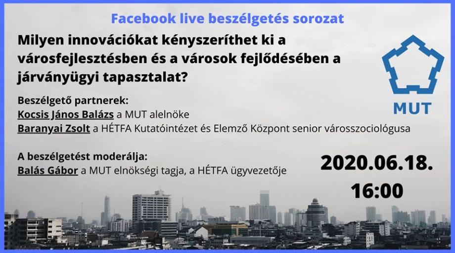 Online kerekasztal-beszélgetés a Magyar Urbanisztikai Társaság szervezésében a HÉTFA szakértőinek részvételével